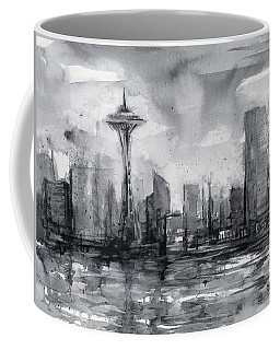 Seattle Skyline Painting Watercolor  Coffee Mug