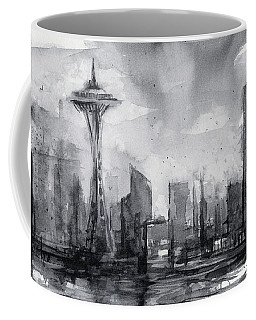 Seattle Skyline Painting Watercolor  Coffee Mug