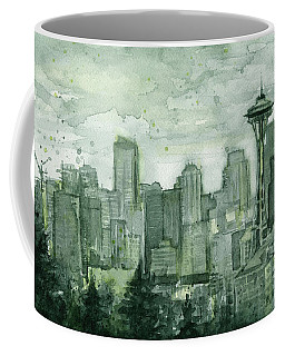 Seattle Skyline Watercolor Space Needle Coffee Mug