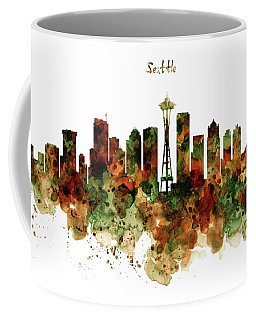 Coffee Mug featuring the mixed media Seattle Watercolor Skyline Poster by Marian Voicu