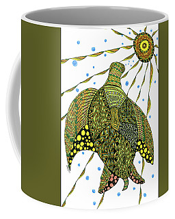Coffee Mug featuring the drawing Seaturtle  by Barbara McConoughey