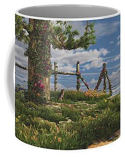 Coffee Mug featuring the digital art Seaview Retreat by Mary Almond