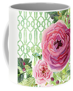 Coffee Mug featuring the painting Secret Garden 3 - Pink English Roses With Woodsy Fern, Wild Berries, Hops And Trellis by Audrey Jeanne Roberts