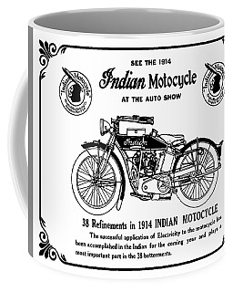 Coffee Mug featuring the mixed media See New 1914 Indian Motocycle At The Auto Show by Daniel Hagerman