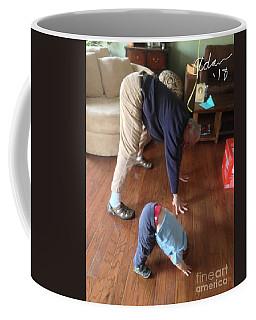 Self Portrait 8 - Downward Dog With Grandson Max On His 2nd Birthday Coffee Mug