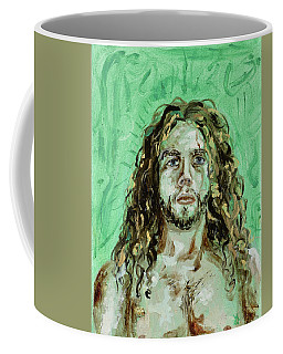 Coffee Mug featuring the painting Self Portrait -with Emerald Green And Mummy Brown- by Ryan Demaree