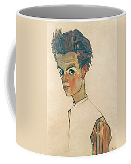 Coffee Mug featuring the drawing Self-portrait With Striped Shirt by Egon Schiele