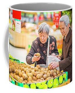 Senior Man And Woman Shopping Fruit Coffee Mug