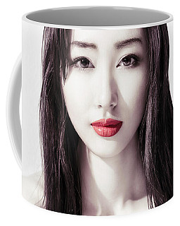 Sensual Beauty Portrait Of Young Asian Woman Face With Red Lips Coffee Mug
