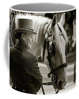 Sepia Carriage Horse With Handler Coffee Mug