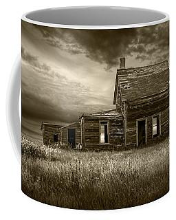 Sepia Tone Of Abandoned Prairie Farm House Coffee Mug