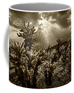 Coffee Mug featuring the photograph Sepia Tone Of Cholla Cactus Garden Bathed In Sunlight by Randall Nyhof