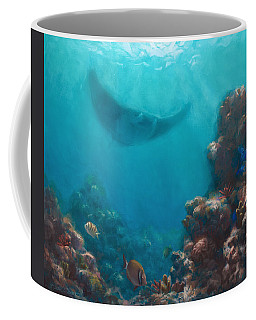 Serenity - Hawaiian Underwater Reef And Manta Ray Coffee Mug by Karen Whitworth