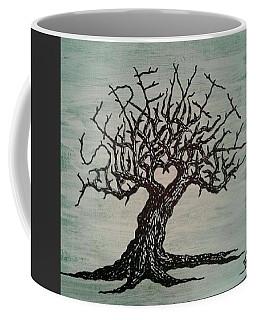 Coffee Mug featuring the drawing Serenity Love Tree by Aaron Bombalicki