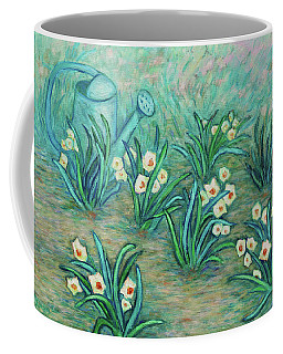 Coffee Mug featuring the painting Seven Daffodils by Xueling Zou