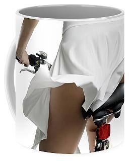 Sexy Woman In Dress Riding Bicycle Art Print Coffee Mug