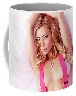 Sexy Young Topless Blond Woman In Pink Jeans With Suspenders Coffee Mug