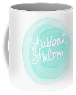 Shabbat Shalom Sky Blue Drop- Art By Linda Woods Coffee Mug
