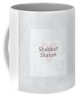 Coffee Mug featuring the mixed media Shabbat Shalom Soft Heart- Art By Linda Woods by Linda Woods