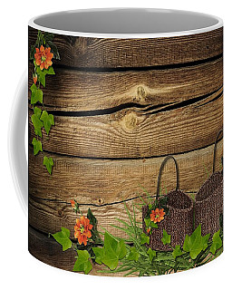 Shabby Chic Flowers In Rustic Basket Coffee Mug