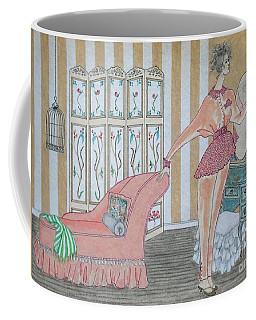 Shabby Chic -- Art Deco Interior W/ Fashion Figure Coffee Mug