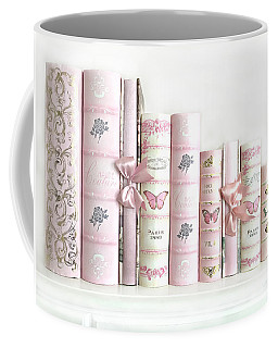 Coffee Mug featuring the photograph Shabby Chic Pink Books Collection - Paris Pink Books Art Prints Home Decor by Kathy Fornal