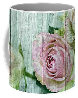Shabby Chic Pink Roses On Blue Wood Coffee Mug
