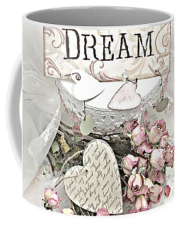 Coffee Mug featuring the photograph Shabby Chic Romantic Dream Valentine Roses - Romantic Dreamy Roses Valentine Hearts by Kathy Fornal