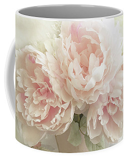 Coffee Mug featuring the photograph Shabby Chic Romantic Pastel Pink Peonies Floral Art - Pastel Peonies Home Decor by Kathy Fornal