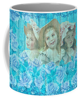Shabby Chic Vintage Little Girls And Roses On Wood Coffee Mug