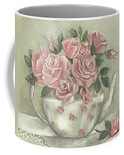 Shabby Teapot Rose Painting Coffee Mug