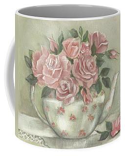 Shabby Teapot Rose Painting Coffee Mug by Chris Hobel