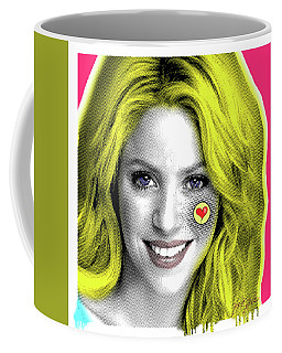 Shakira, Pop Art, Pop Art, Portrait, Contemporary Art On Canvas, Famous Celebrities Coffee Mug