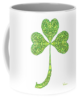 Coffee Mug featuring the drawing Shamrock With Curled Stem by Lise Winne