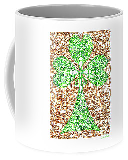 Shamrock With Knotted Background Coffee Mug by Lise Winne