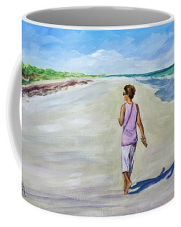 Coffee Mug featuring the painting Shannon At Pink Sands by Patricia Piffath