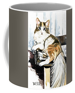 Coffee Mug featuring the painting She Has Got The Look - Cat Portrait by Dora Hathazi Mendes