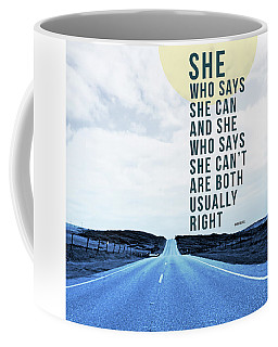 Coffee Mug featuring the mixed media She Who Can- Art By Linda Woods by Linda Woods