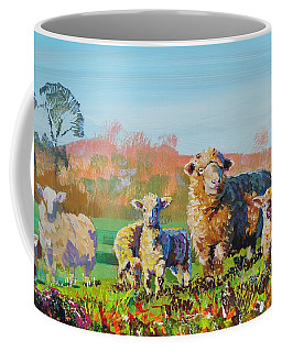 Sheep And Lambs In Devon Landscape Bright Colors Coffee Mug