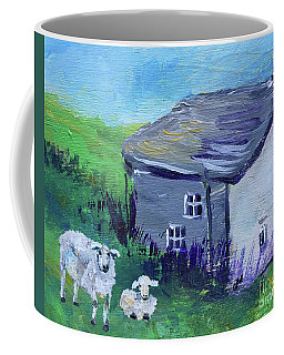 Coffee Mug featuring the painting Sheep In Scotland  by Claire Bull