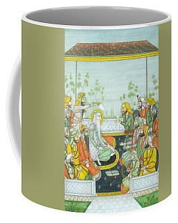 Sher A Punjab Sikh Maharaja Ranjit Singh Court Scene Miniature Painting Of India Watercolor Artwork Coffee Mug