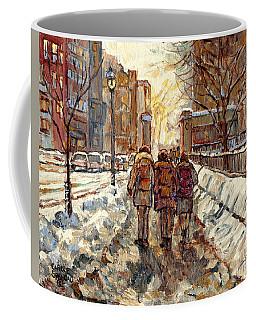 Sherbrooke Street Winter Scene Painting Mcgill Roddick Gates Canadian Art For Sale C Spandau Artist Coffee Mug