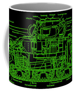 Coffee Mug featuring the drawing Sherman M4a4 Tank by Robert Geary