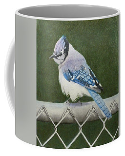Coffee Mug featuring the painting Sherrie's Bluejay by Constance DRESCHER