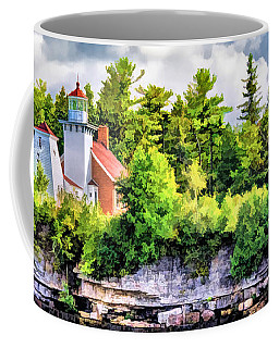 Coffee Mug featuring the painting Sherwood Point Lighthouse by Christopher Arndt