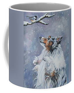 Shetland Sheepdog With Chickadee Coffee Mug