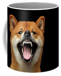 Shiba Inu Growls Coffee Mug by Sergey Taran