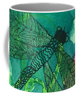 Shimmering Dragonfly W Sweetpeas Square Crop Coffee Mug