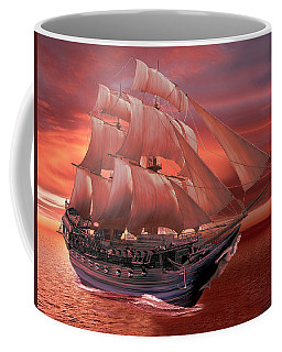 Ship Sails At Sunset Coffee Mug