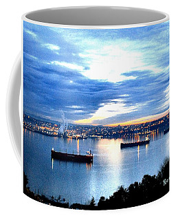 Coffee Mug featuring the photograph Ships At Port Of Tacoma W A by Sadie Reneau